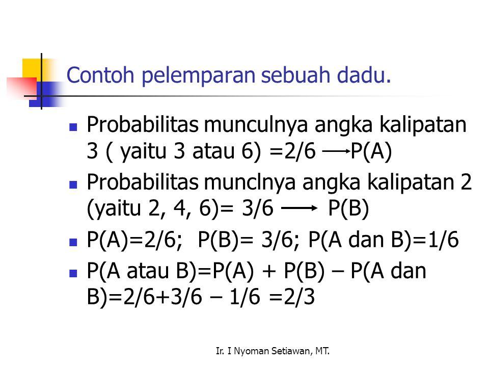 Ir. I Nyoman Setiawan, MT. Contoh pelemparan sebuah dadu. Probabilitas munculnya angka kalipatan 3 ( yaitu 3 atau 6) =2/6 P(A) Probabilitas munclnya a