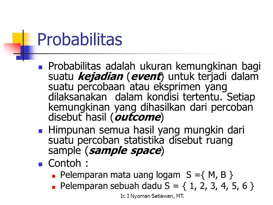 Ir. I Nyoman Setiawan, MT. Probabilitas Probabilitas adalah ukuran kemungkinan bagi suatu kejadian (event) untuk terjadi dalam suatu percobaan atau ek