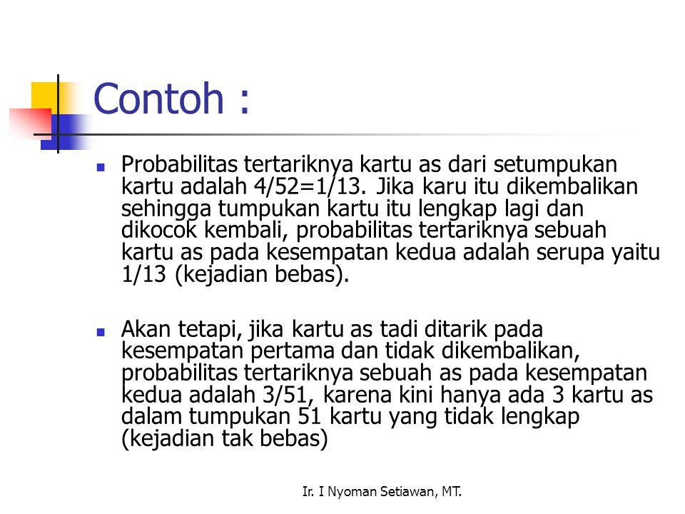 Ir. I Nyoman Setiawan, MT. Contoh : Probabilitas tertariknya kartu as dari setumpukan kartu adalah 4/52=1/13. Jika karu itu dikembalikan sehingga tump