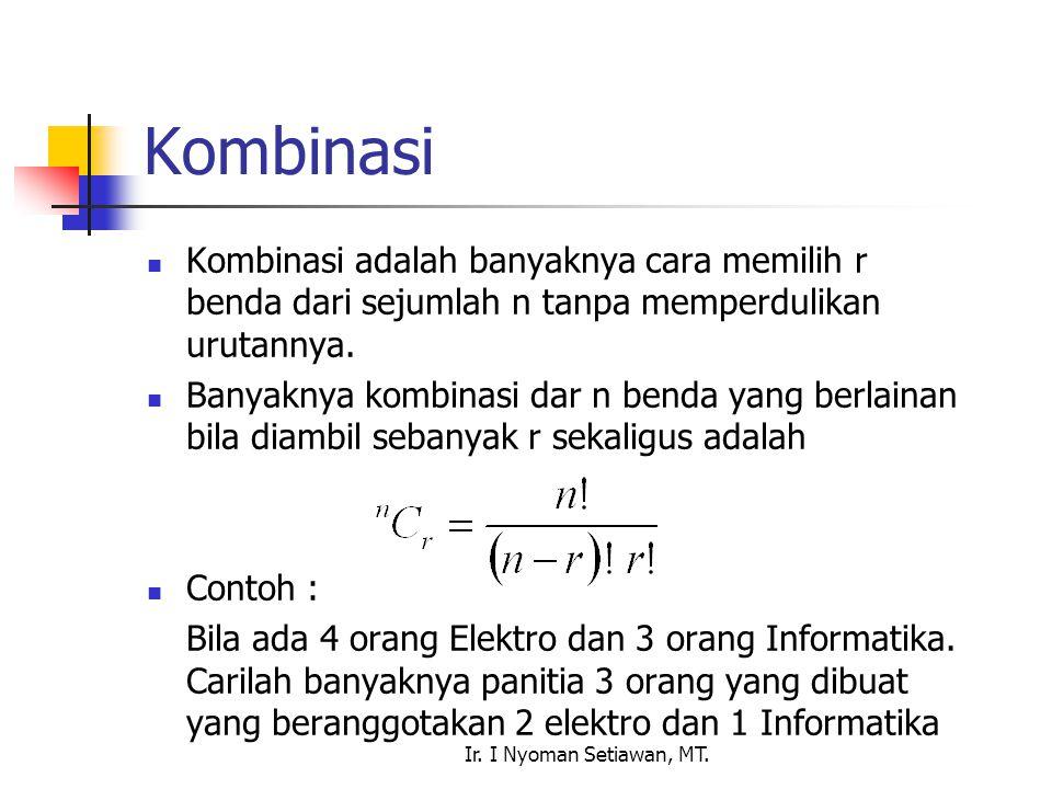 Ir. I Nyoman Setiawan, MT. Kombinasi Kombinasi adalah banyaknya cara memilih r benda dari sejumlah n tanpa memperdulikan urutannya. Banyaknya kombinas