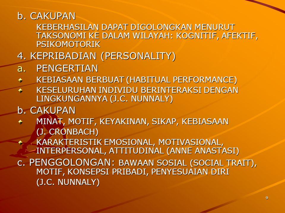9 b. CAKUPAN KEBERHASILAN DAPAT DIGOLONGKAN MENURUT TAKSONOMI KE DALAM WILAYAH: KOGNITIF, AFEKTIF, PSIKOMOTORIK 4. KEPRIBADIAN (PERSONALITY) a.PENGERT