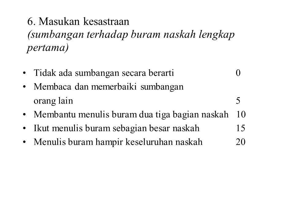 5. Masukan keahlian (penyimpulan, pengikhtisaran, perampatan, pencetusan teori) Tidak ada sumbangan secara berarti0 Penyimpulan bagian-bagian tertentu
