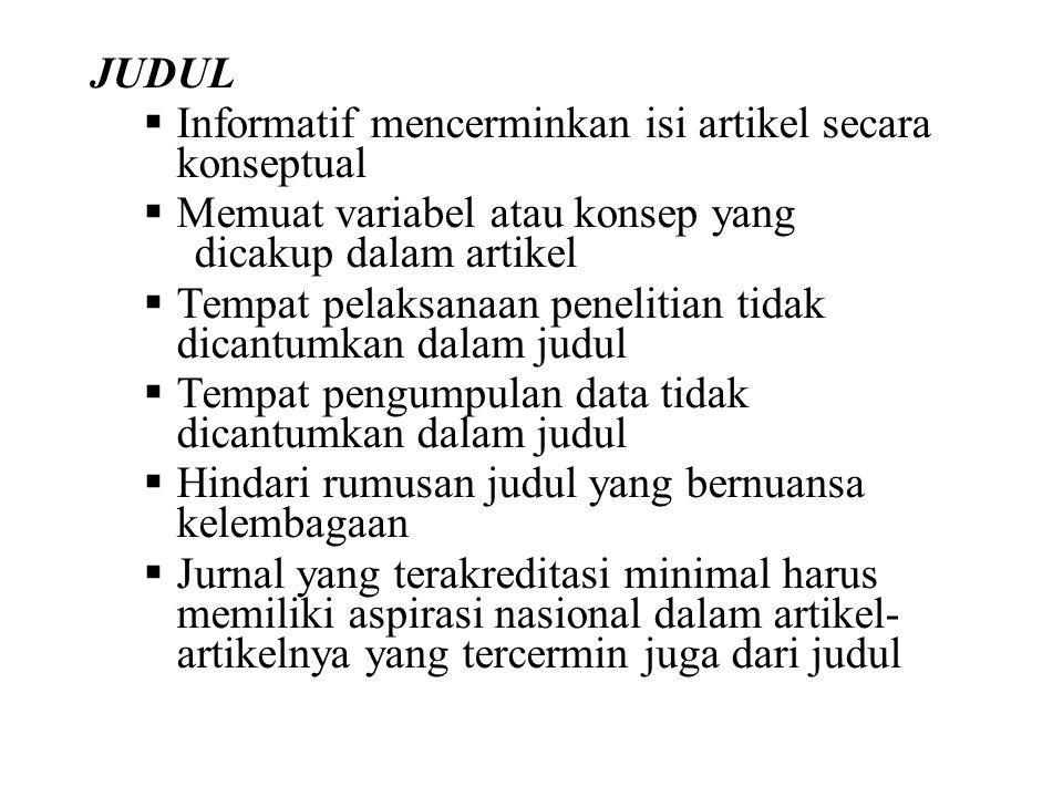 """KOMPONEN ARTIKEL ILMIAH HASIL PENELITIAN Judul Penulis Abstrak Kata Kunci Pendahuluan (Introduction in """"IMRAD"""") Metode (Method in """"IMRAD"""") Hasil (Resu"""
