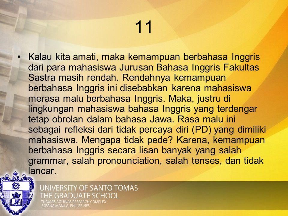 11 Kalau kita amati, maka kemampuan berbahasa Inggris dari para mahasiswa Jurusan Bahasa Inggris Fakultas Sastra masih rendah. Rendahnya kemampuan ber