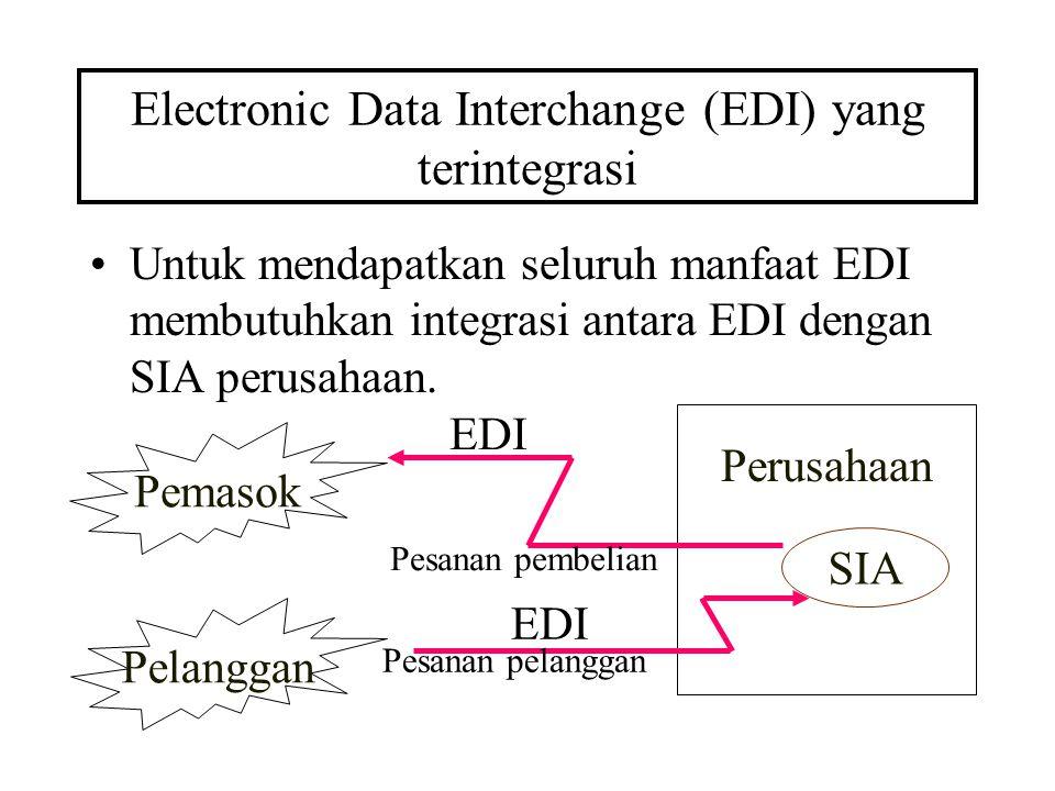 Electronic Data Interchange (EDI) yang terintegrasi Untuk mendapatkan seluruh manfaat EDI membutuhkan integrasi antara EDI dengan SIA perusahaan. Pema