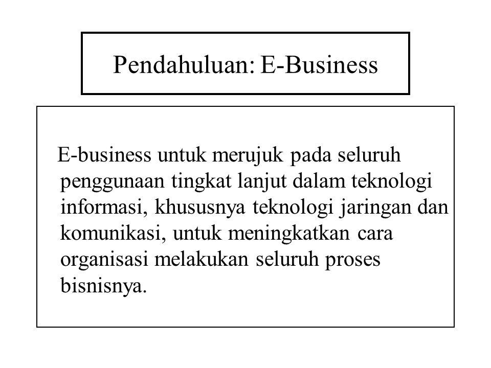 Pendahuluan: E-Business E-business untuk merujuk pada seluruh penggunaan tingkat lanjut dalam teknologi informasi, khususnya teknologi jaringan dan ko