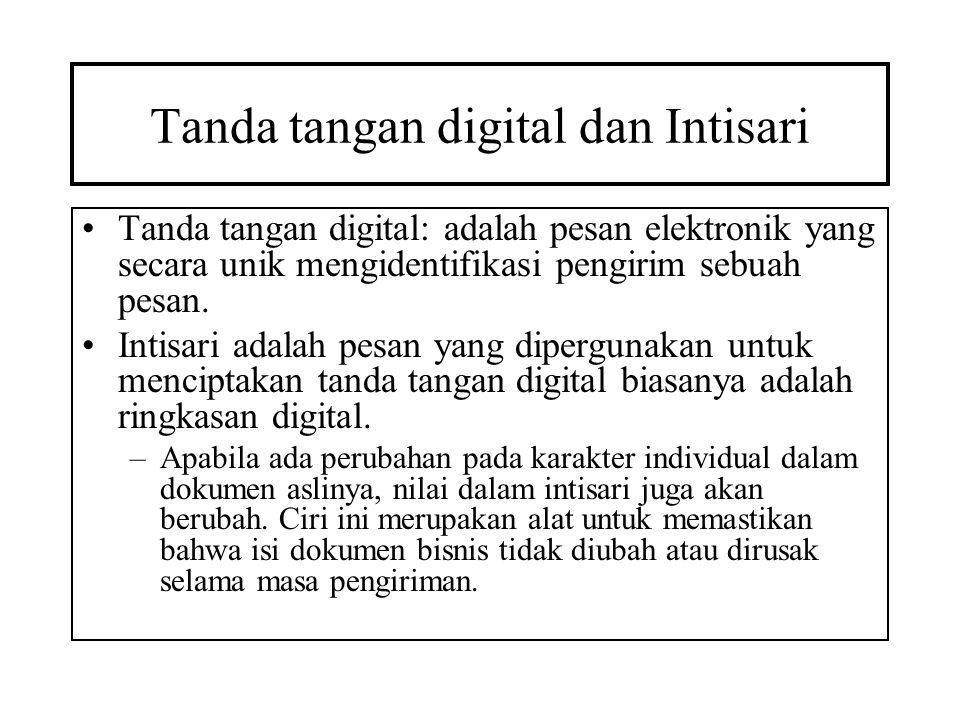 Tanda tangan digital dan Intisari Tanda tangan digital: adalah pesan elektronik yang secara unik mengidentifikasi pengirim sebuah pesan. Intisari adal