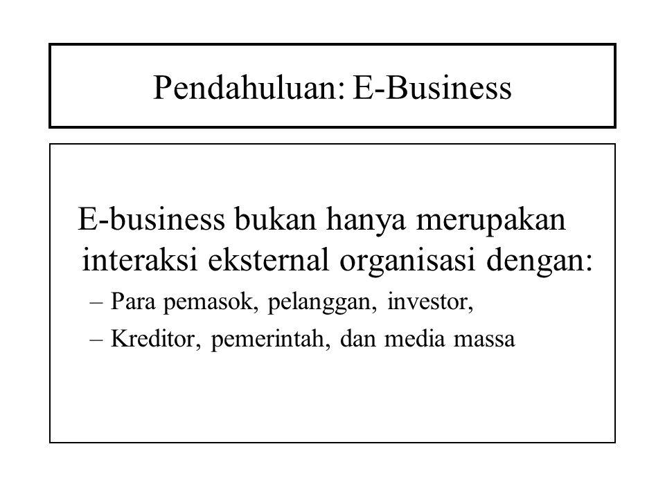 Pendahuluan: E-Business E-business bukan hanya merupakan interaksi eksternal organisasi dengan: –Para pemasok, pelanggan, investor, –Kreditor, pemerin