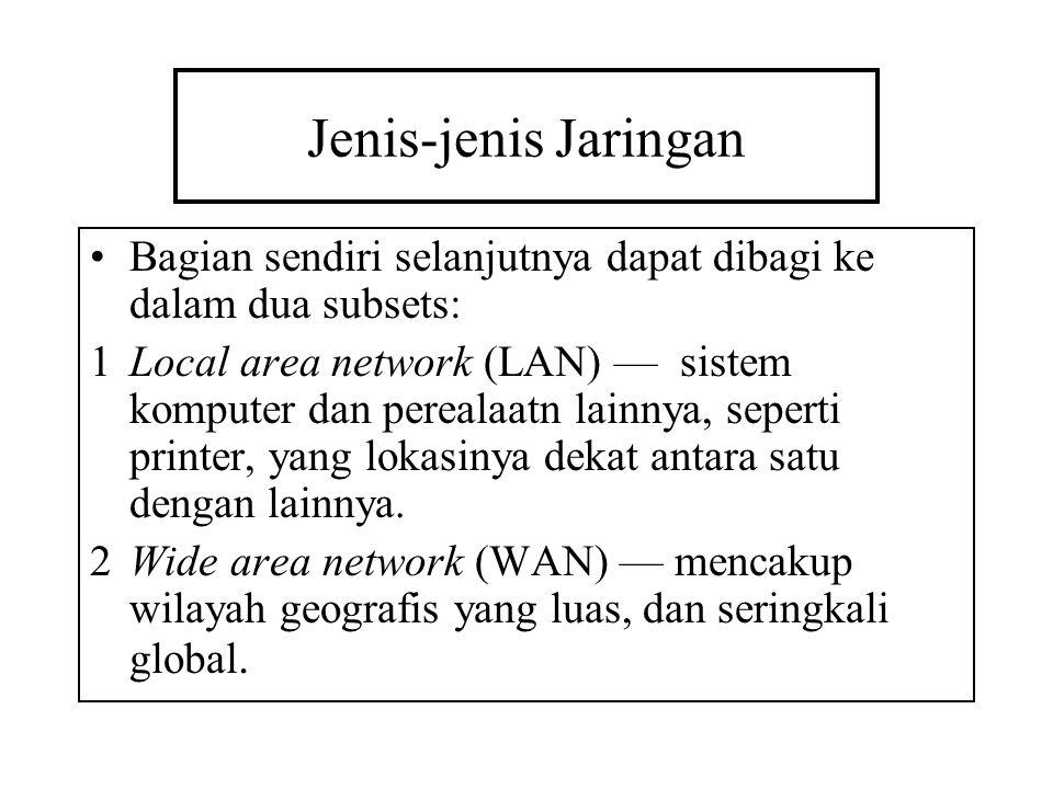 Jenis-jenis Jaringan Bagian sendiri selanjutnya dapat dibagi ke dalam dua subsets: 1Local area network (LAN) — sistem komputer dan perealaatn lainnya,