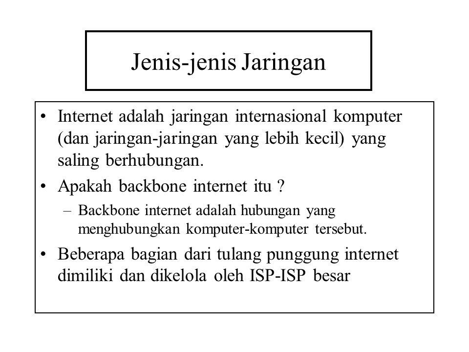 Jenis-jenis Jaringan Internet adalah jaringan internasional komputer (dan jaringan-jaringan yang lebih kecil) yang saling berhubungan. Apakah backbone