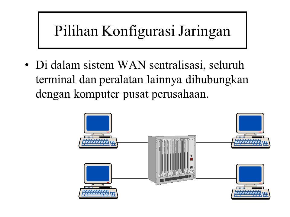 Pilihan Konfigurasi Jaringan Di dalam sistem WAN sentralisasi, seluruh terminal dan peralatan lainnya dihubungkan dengan komputer pusat perusahaan.