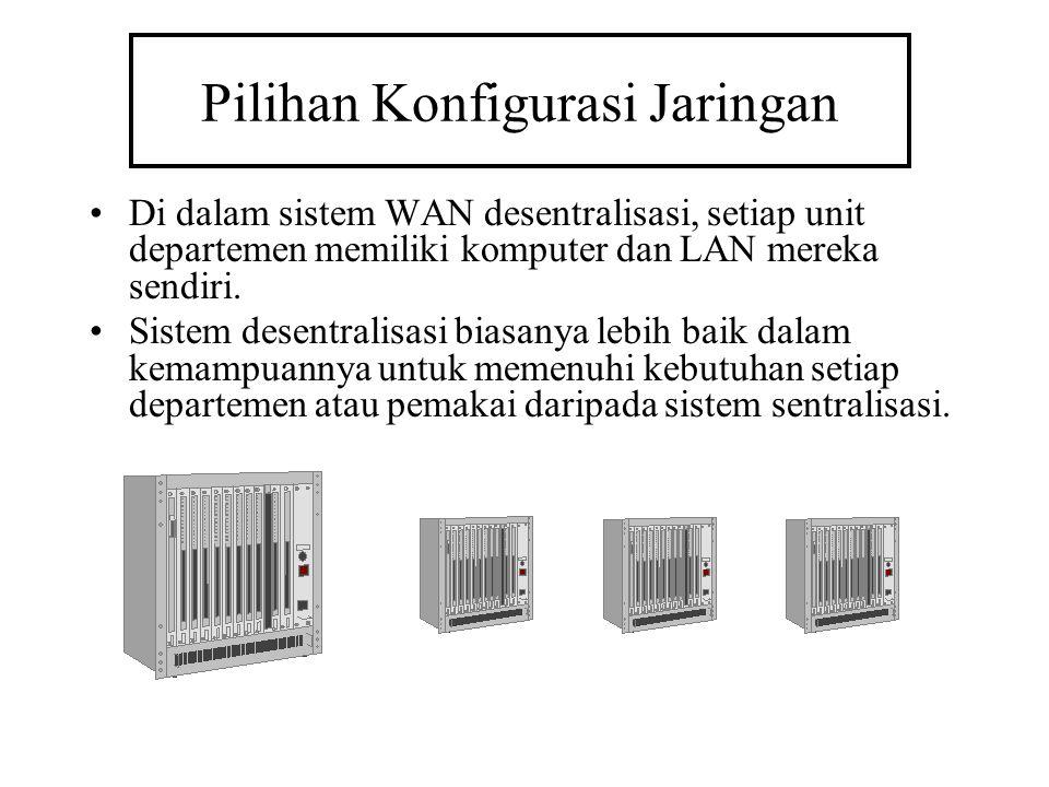 Pilihan Konfigurasi Jaringan Di dalam sistem WAN desentralisasi, setiap unit departemen memiliki komputer dan LAN mereka sendiri. Sistem desentralisas
