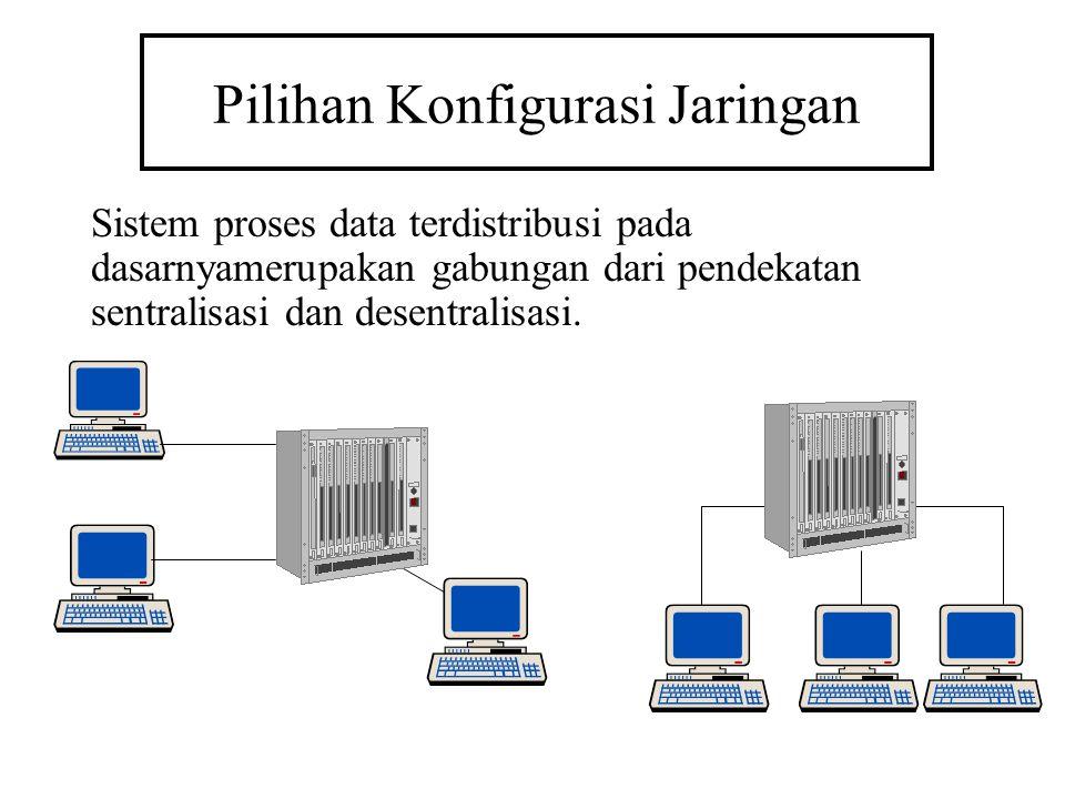 Pilihan Konfigurasi Jaringan Sistem proses data terdistribusi pada dasarnyamerupakan gabungan dari pendekatan sentralisasi dan desentralisasi.