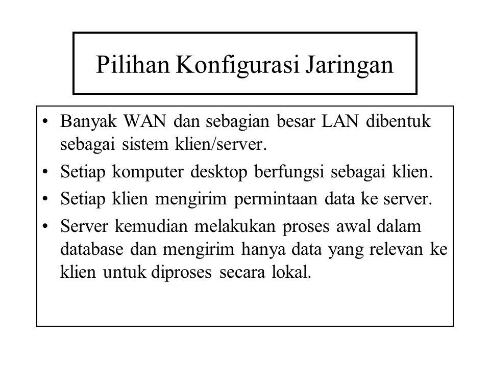 Pilihan Konfigurasi Jaringan Banyak WAN dan sebagian besar LAN dibentuk sebagai sistem klien/server. Setiap komputer desktop berfungsi sebagai klien.