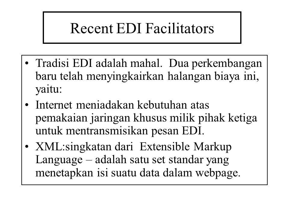 Recent EDI Facilitators Tradisi EDI adalah mahal. Dua perkembangan baru telah menyingkairkan halangan biaya ini, yaitu: Internet meniadakan kebutuhan
