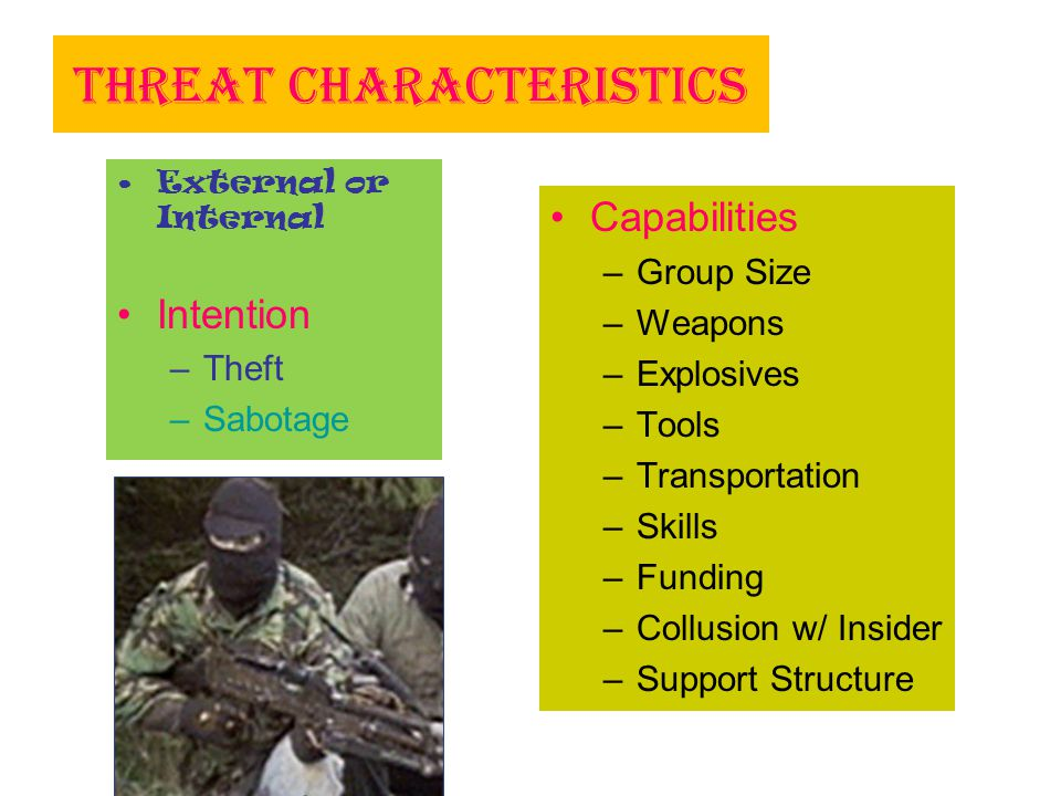 Threat Characteristics External or Internal Intention –Theft –Sabotage Capabilities –Group Size –Weapons –Explosives –Tools –Transportation –Skills –F