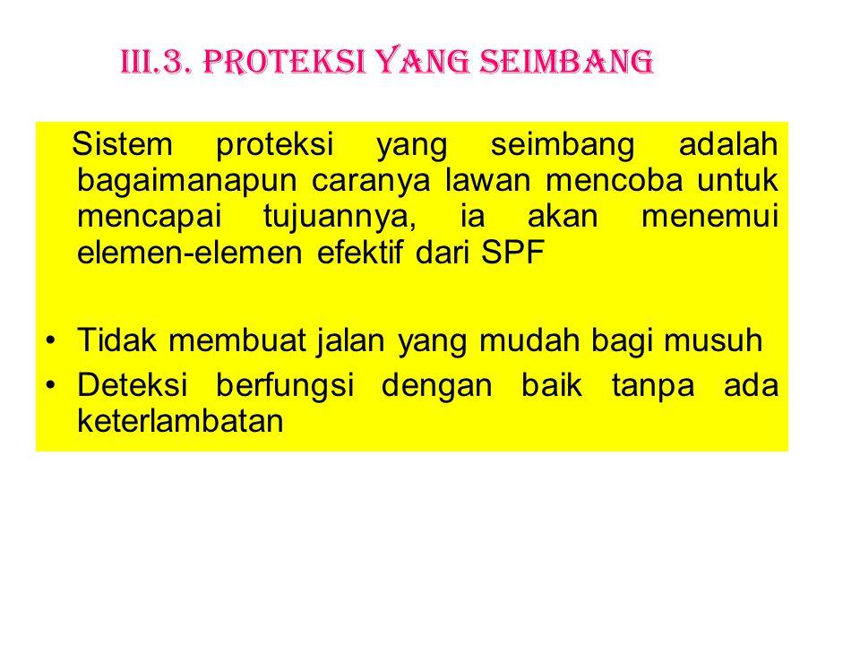 III.3. Proteksi yang Seimbang Sistem proteksi yang seimbang adalah bagaimanapun caranya lawan mencoba untuk mencapai tujuannya, ia akan menemui elemen