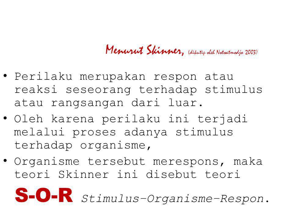 Menurut Skinner, (dikutip oleh Notoatmodjo 2003) Perilaku merupakan respon atau reaksi seseorang terhadap stimulus atau rangsangan dari luar. Oleh kar