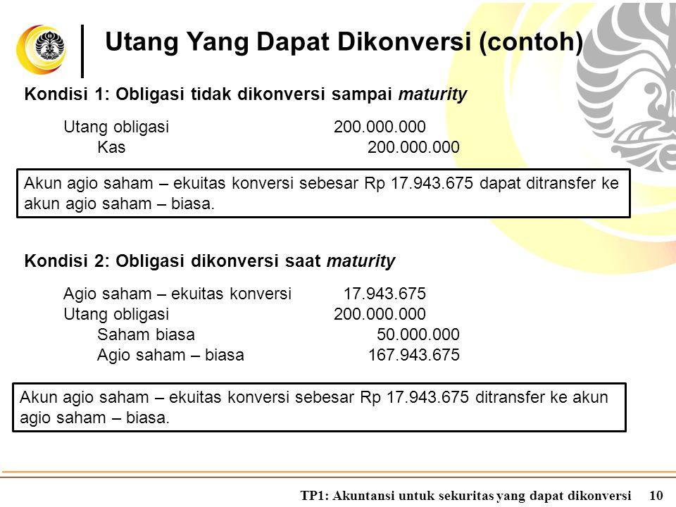 TP1: Akuntansi untuk sekuritas yang dapat dikonversi10 Kondisi 1: Obligasi tidak dikonversi sampai maturity Utang Yang Dapat Dikonversi (contoh) Utang
