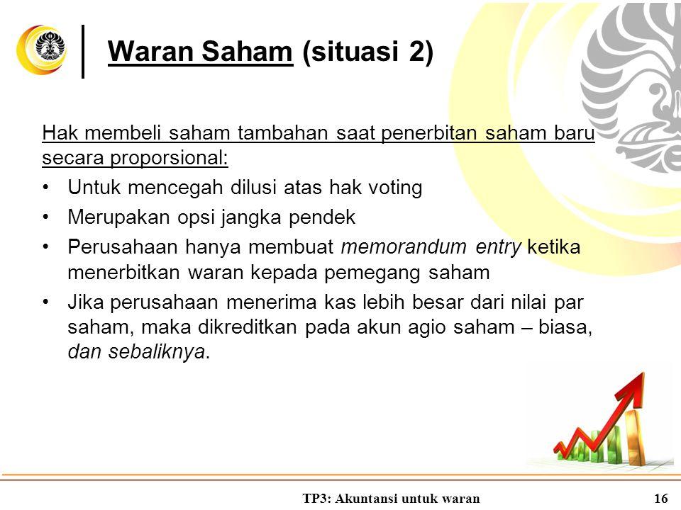 TP3: Akuntansi untuk waran16 Hak membeli saham tambahan saat penerbitan saham baru secara proporsional: Untuk mencegah dilusi atas hak voting Merupaka