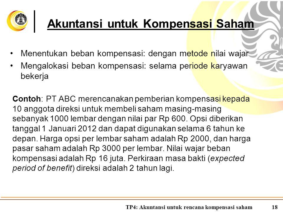 TP4: Akuntansi untuk rencana kompensasi saham18 Menentukan beban kompensasi: dengan metode nilai wajar Mengalokasi beban kompensasi: selama periode ka