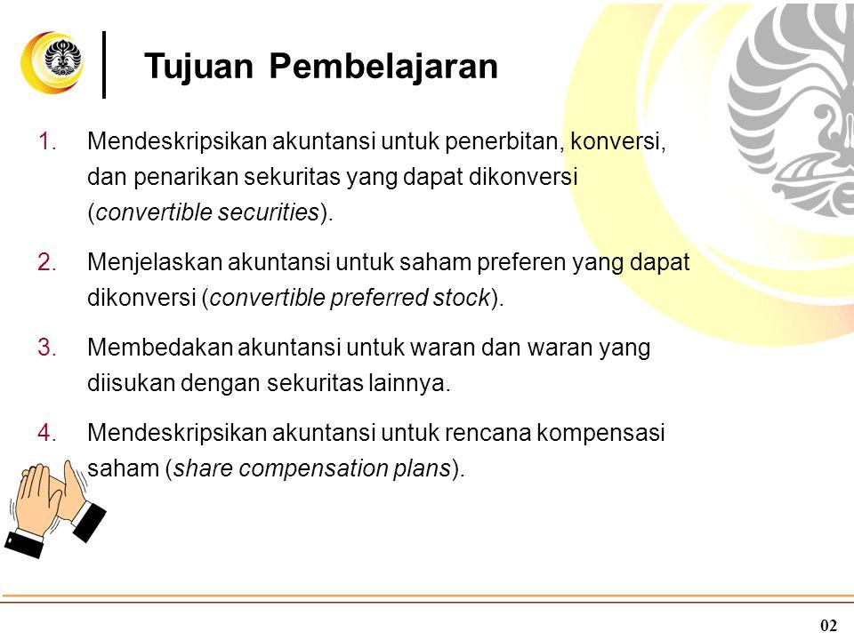 TP1: Akuntansi untuk sekuritas yang dapat dikonversi03 Sekuritas Dilutif Utang dan ekuitas Utang yang dapat dikonversi Saham yang dapat dikonversi Waran saham Akuntansi untuk kompensasi saham Sekuritas Dilutif dan Kompensasi PSAK 50, PSAK 53, PSAK 55
