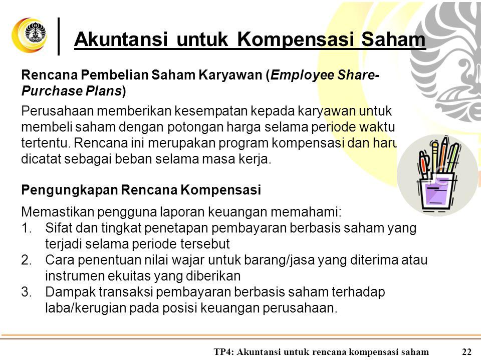 TP4: Akuntansi untuk rencana kompensasi saham22 Akuntansi untuk Kompensasi Saham Rencana Pembelian Saham Karyawan (Employee Share- Purchase Plans) Per