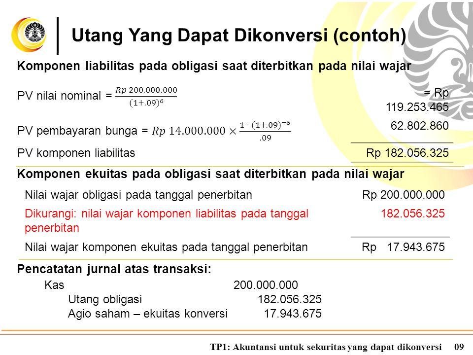 TP1: Akuntansi untuk sekuritas yang dapat dikonversi10 Kondisi 1: Obligasi tidak dikonversi sampai maturity Utang Yang Dapat Dikonversi (contoh) Utang obligasi200.000.000 Kas200.000.000 Kondisi 2: Obligasi dikonversi saat maturity Agio saham – ekuitas konversi 17.943.675 Utang obligasi200.000.000 Saham biasa 50.000.000 Agio saham – biasa167.943.675 Akun agio saham – ekuitas konversi sebesar Rp 17.943.675 dapat ditransfer ke akun agio saham – biasa.