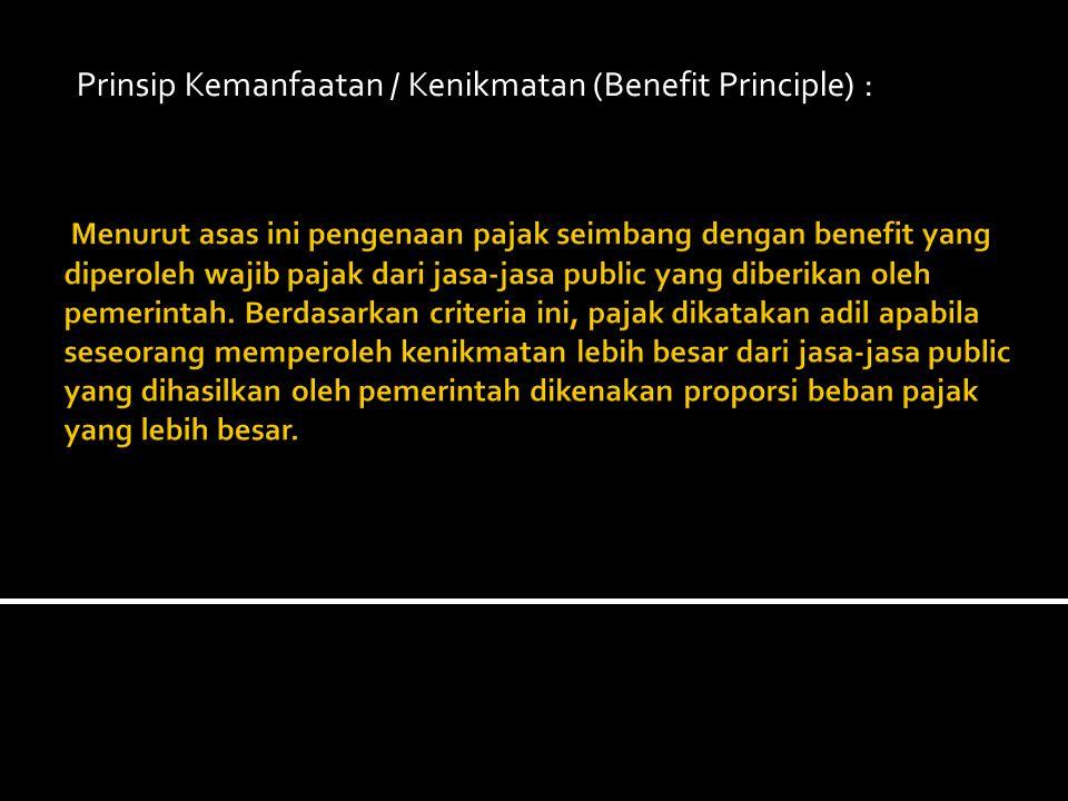 Prinsip Kemanfaatan / Kenikmatan (Benefit Principle) :