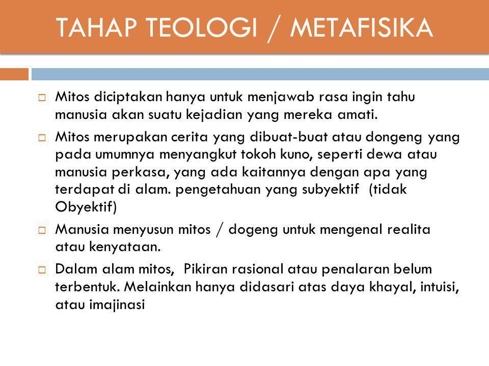 TAHAP TEOLOGI / METAFISIKA  Mitos diciptakan hanya untuk menjawab rasa ingin tahu manusia akan suatu kejadian yang mereka amati.  Mitos merupakan ce