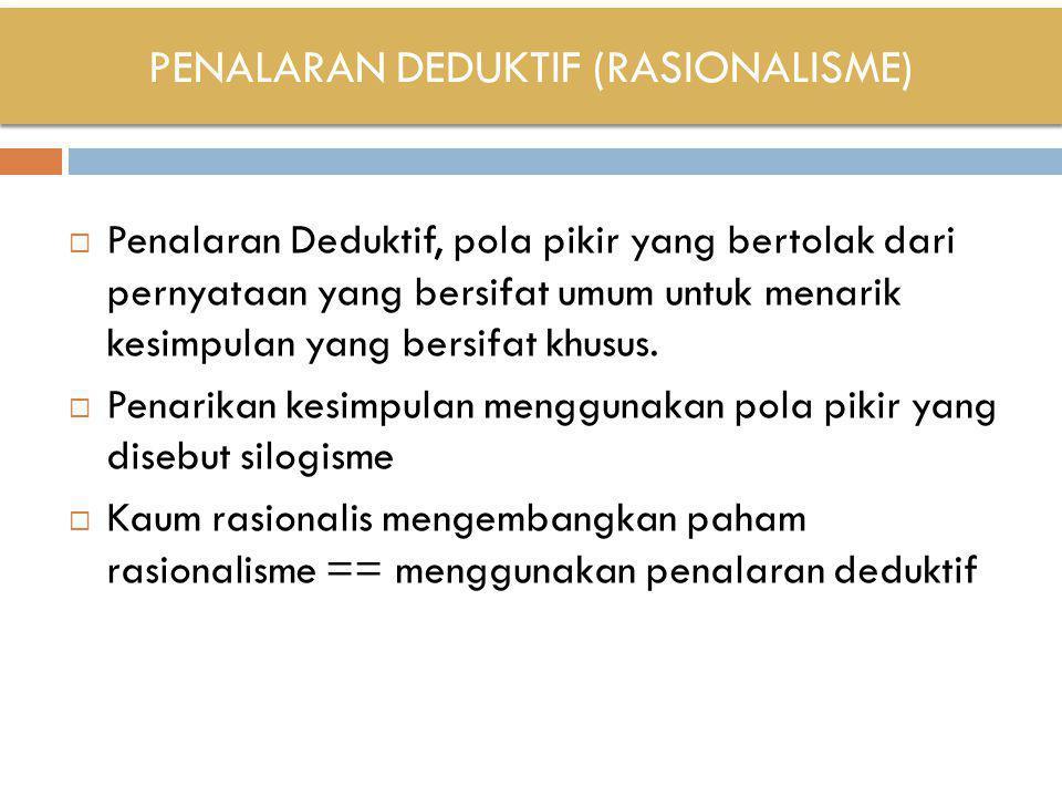 PENALARAN DEDUKTIF (RASIONALISME)  Penalaran Deduktif, pola pikir yang bertolak dari pernyataan yang bersifat umum untuk menarik kesimpulan yang bers