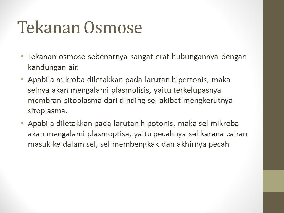 Tekanan Osmose Tekanan osmose sebenarnya sangat erat hubungannya dengan kandungan air. Apabila mikroba diletakkan pada larutan hipertonis, maka selnya
