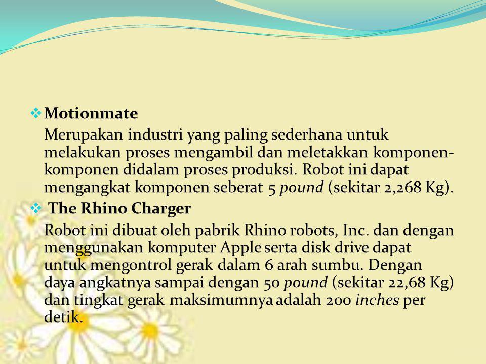  Motionmate Merupakan industri yang paling sederhana untuk melakukan proses mengambil dan meletakkan komponen- komponen didalam proses produksi. Robo