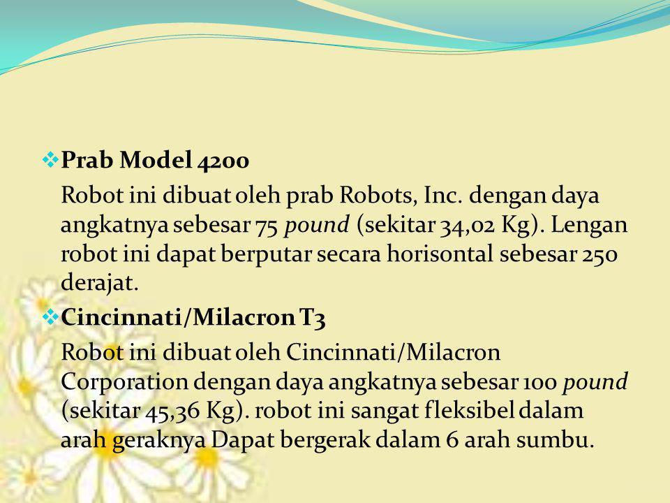  Prab Model 4200 Robot ini dibuat oleh prab Robots, Inc. dengan daya angkatnya sebesar 75 pound (sekitar 34,02 Kg). Lengan robot ini dapat berputar s