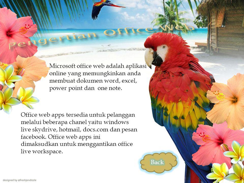 Microsoft office web adalah aplikasi online yang memungkinkan anda membuat dokumen word, excel, power point dan one note.