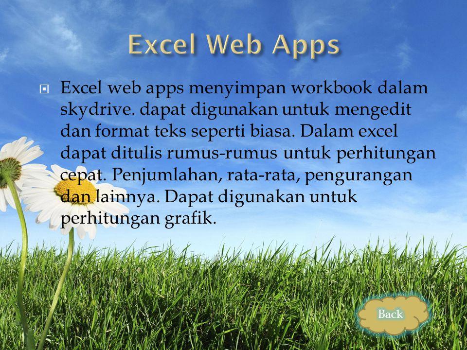  Excel web apps menyimpan workbook dalam skydrive.
