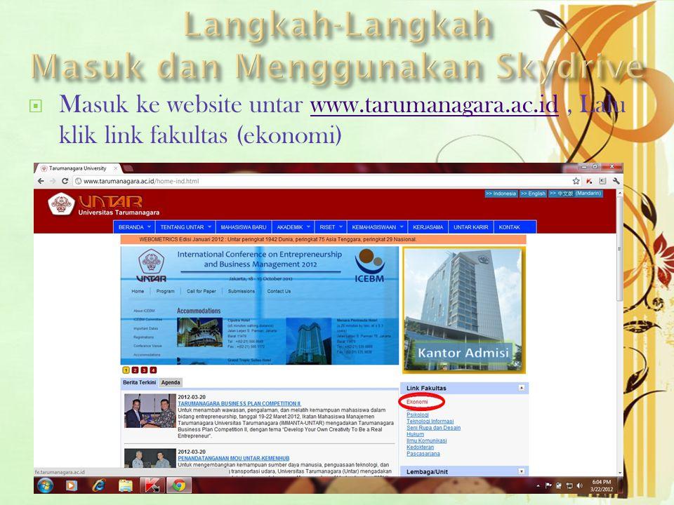  Masuk ke website untar www.tarumanagara.ac.id, Lalu klik link fakultas (ekonomi)www.tarumanagara.ac.id
