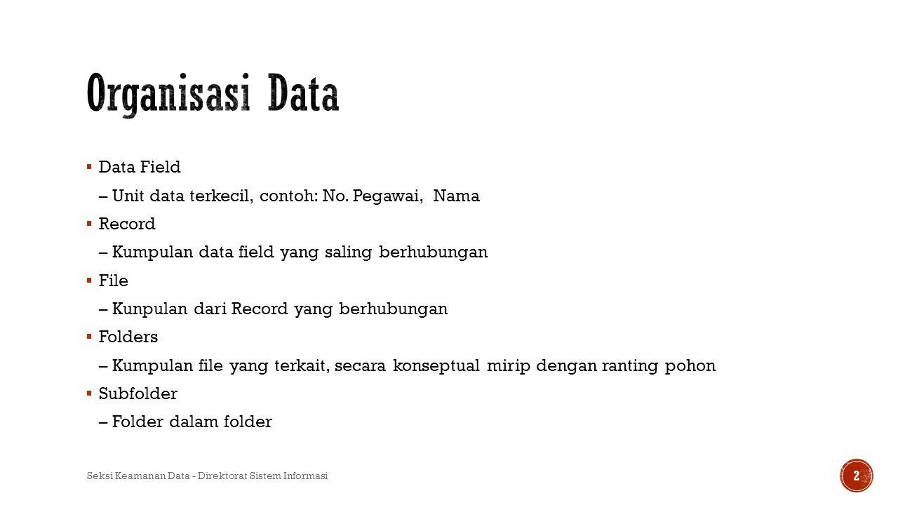  Data Field – Unit data terkecil, contoh: No. Pegawai, Nama  Record – Kumpulan data field yang saling berhubungan  File – Kunpulan dari Record yang