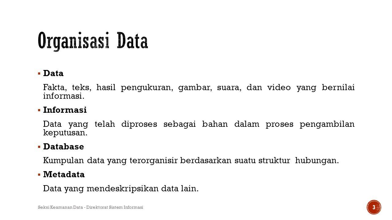  Data Fakta, teks, hasil pengukuran, gambar, suara, dan video yang bernilai informasi.  Informasi Data yang telah diproses sebagai bahan dalam prose