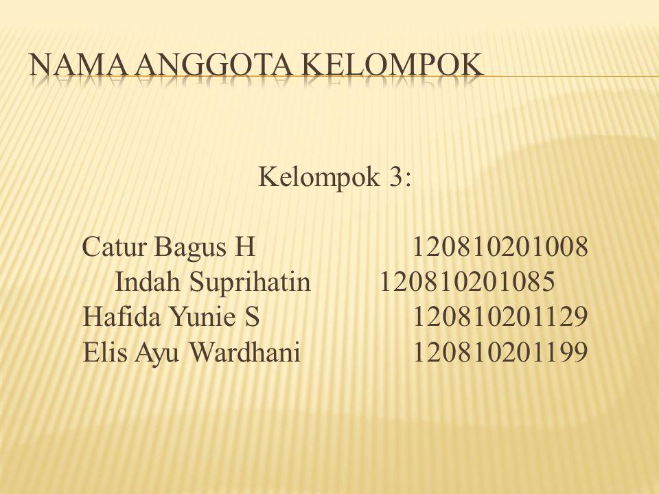 Kelompok 3: Catur Bagus H120810201008 Indah Suprihatin120810201085 Hafida Yunie S120810201129 Elis Ayu Wardhani 120810201199