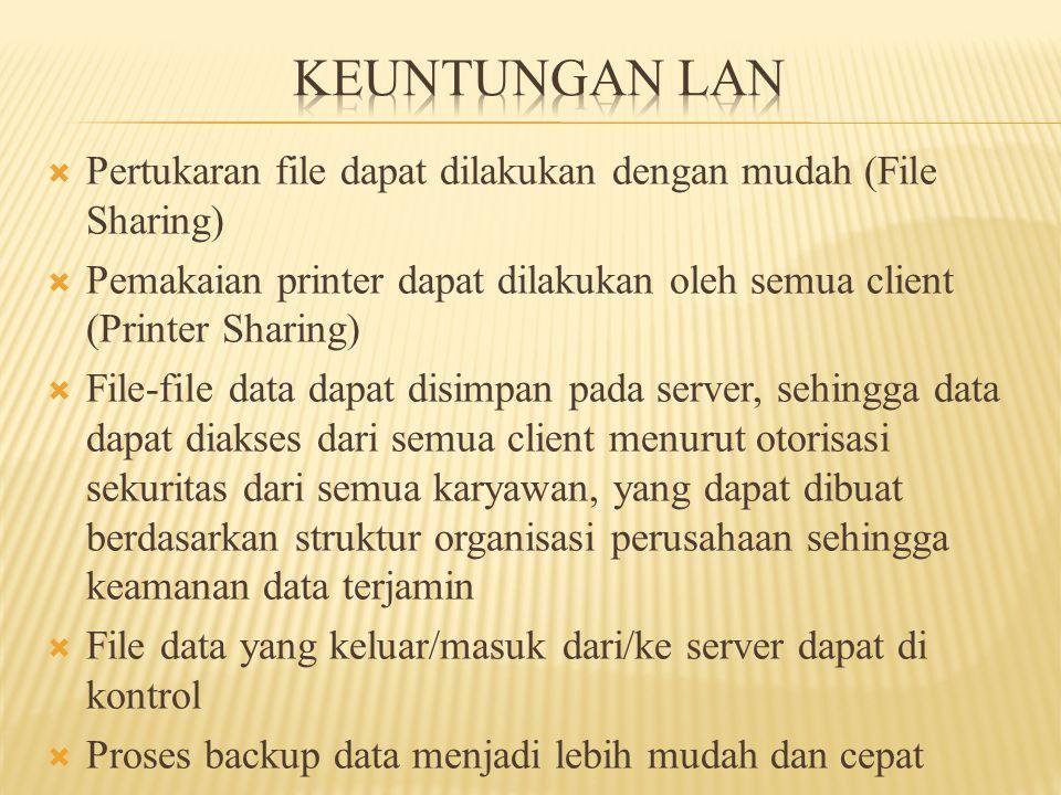  Pertukaran file dapat dilakukan dengan mudah (File Sharing)  Pemakaian printer dapat dilakukan oleh semua client (Printer Sharing)  File-file data