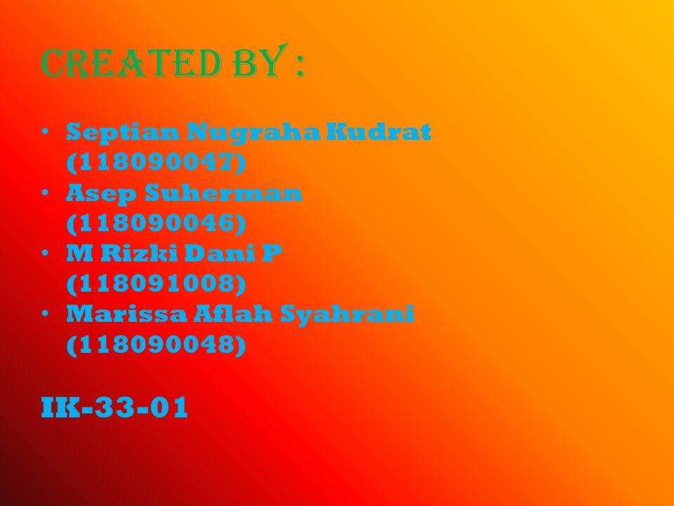 Created by : Septian Nugraha Kudrat (118090047) Asep Suherman (118090046) M Rizki Dani P (118091008) Marissa Aflah Syahrani (118090048) IK-33-01
