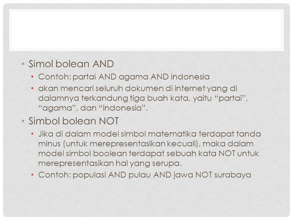 Simol bolean AND Contoh: partai AND agama AND indonesia akan mencari seluruh dokumen di internet yang di dalamnya terkandung tiga buah kata, yaitu partai , agama , dan indonesia .