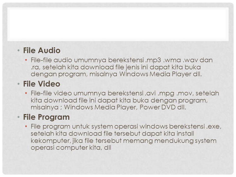 File Audio File-file audio umumnya berekstensi.mp3.wma.wav dan.ra, setelah kita download file jenis ini dapat kita buka dengan program, misalnya Windows Media Player dll.