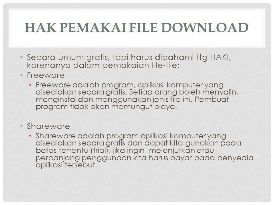 HAK PEMAKAI FILE DOWNLOAD Secara umum gratis, tapi harus dipahami ttg HAKI, karenanya dalam pemakaian file-file: Freeware Freeware adalah program, aplikasi komputer yang disediakan secara gratis.