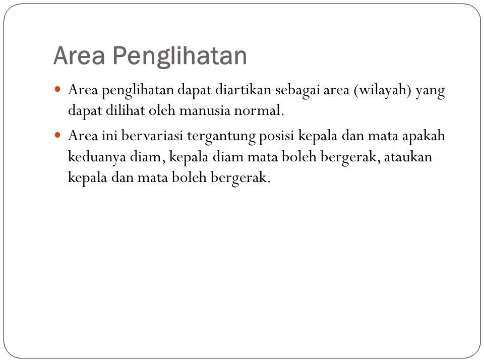 Area Penglihatan Area penglihatan dapat diartikan sebagai area (wilayah) yang dapat dilihat oleh manusia normal. Area ini bervariasi tergantung posisi