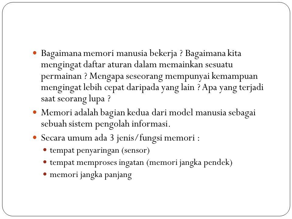 Bagaimana memori manusia bekerja ? Bagaimana kita mengingat daftar aturan dalam memainkan sesuatu permainan ? Mengapa seseorang mempunyai kemampuan me