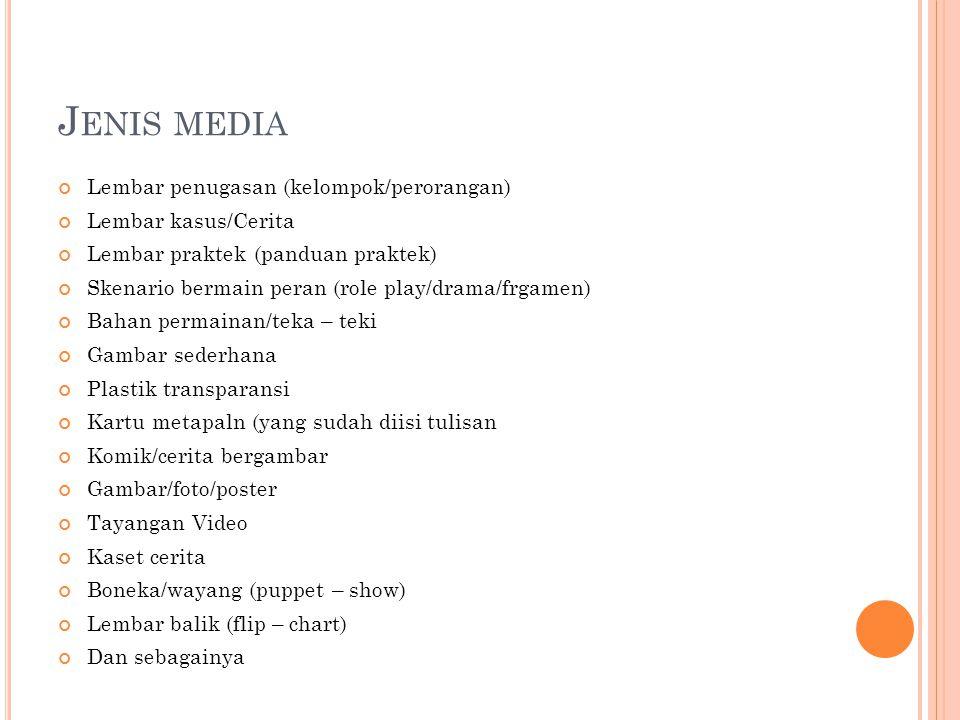 J ENIS MEDIA Lembar penugasan (kelompok/perorangan) Lembar kasus/Cerita Lembar praktek (panduan praktek) Skenario bermain peran (role play/drama/frgamen) Bahan permainan/teka – teki Gambar sederhana Plastik transparansi Kartu metapaln (yang sudah diisi tulisan Komik/cerita bergambar Gambar/foto/poster Tayangan Video Kaset cerita Boneka/wayang (puppet – show) Lembar balik (flip – chart) Dan sebagainya