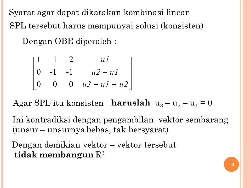 10 Syarat agar dapat dikatakan kombinasi linear SPL tersebut harus mempunyai solusi (konsisten) Dengan OBE diperoleh : haruslah u 3 – u 2 – u 1 = 0Aga