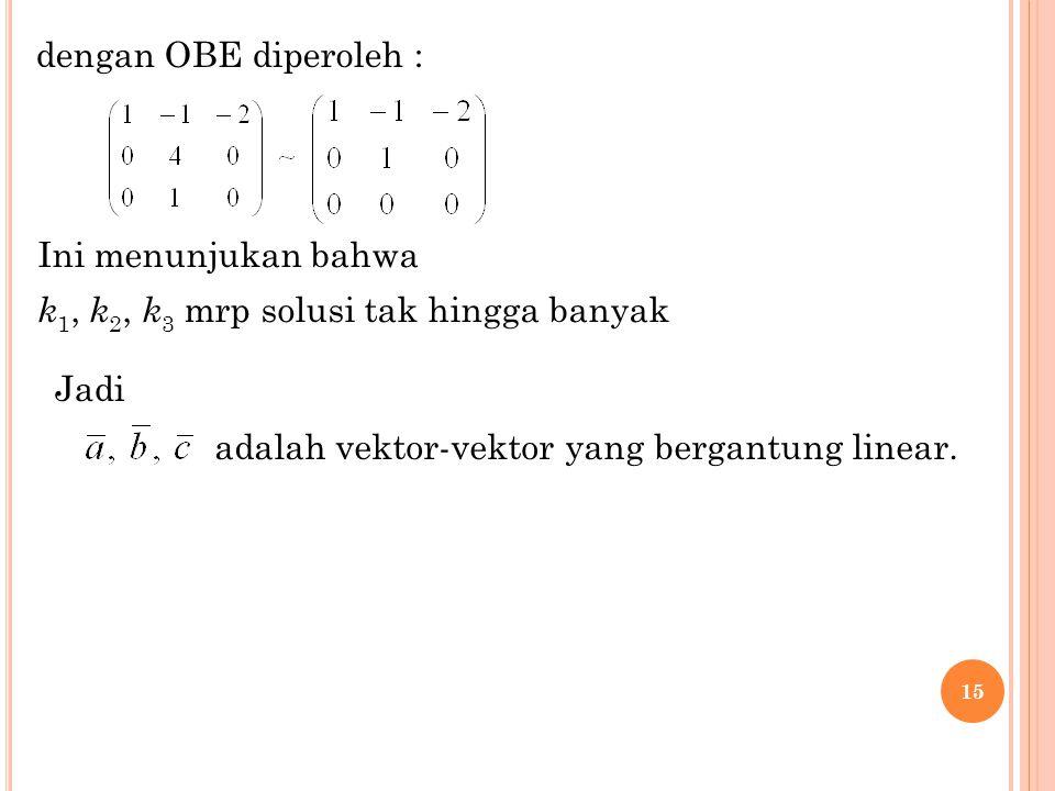 15 dengan OBE diperoleh : Ini menunjukan bahwa k 1, k 2, k 3 mrp solusi tak hingga banyak adalah vektor-vektor yang bergantung linear. Jadi